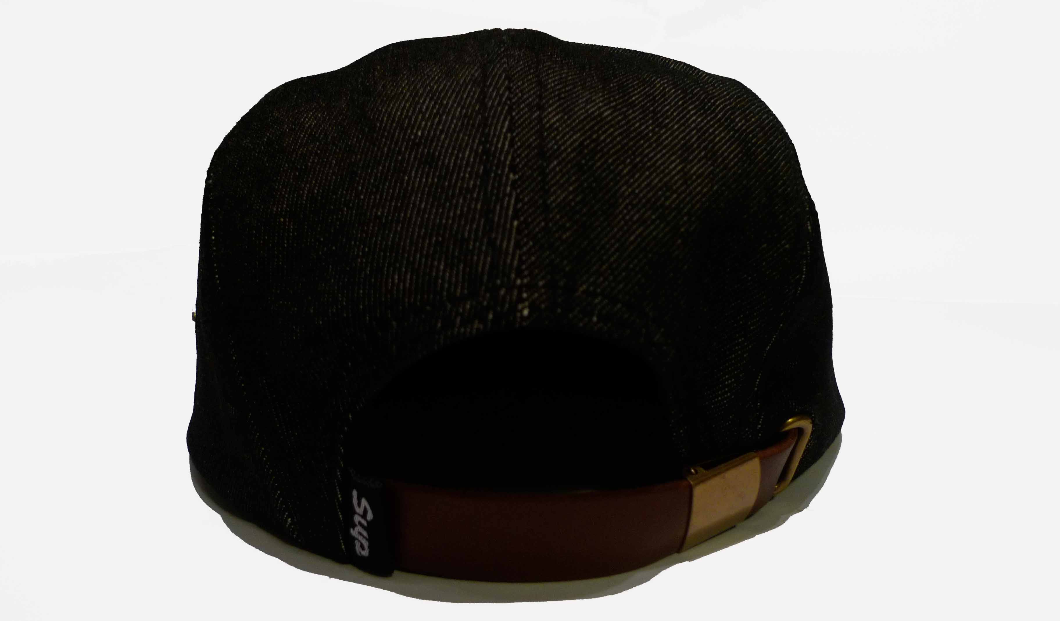 2495e3c804e7e Black Denim 5 Panel Hat with Leather Strap and Brass Buckle. Black Corduroy  Snapback Hat